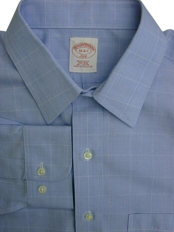 BROOKS BROTHERS 346 Shirt Mens 16 M Light Blue - Check REGULAR FIT NON IRON