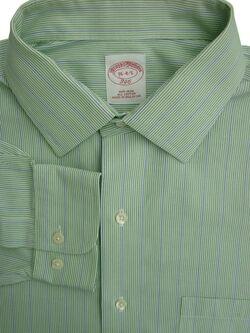 f4141b354d BROOKS BROTHERS 346 Shirt Mens 16 M Green - Blue Stripes NON IRON