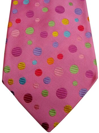 DUCHAMP LONDON Mens Tie Pink - Multi-Coloured Polka Dots