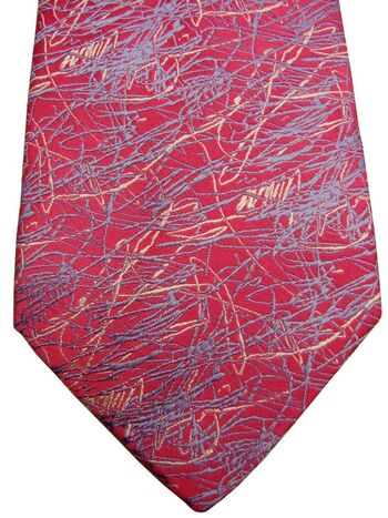 RICHARD JAMES Mens Tie Pink – Blue & White Squiggles