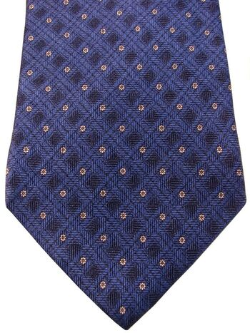 DUNHILL Mens Tie Blue Check - White Flowers