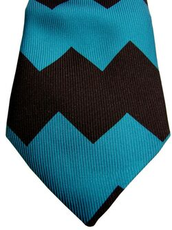 DUCHAMP LONDON Mens Tie Black & Blue Zag NEW