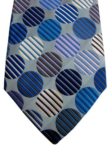 DUCHAMP LONDON Mens Tie Blue & White Striped Polka Dots
