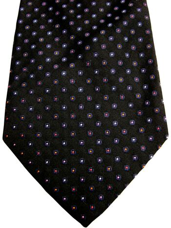DUCHAMP LONDON Mens Tie Black - Multi-Coloured Polka Dots Textured NEW