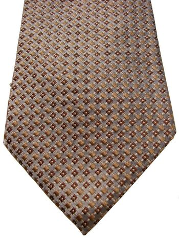 HUGO BOSS Mens Tie Light Blue - Brown Squares Textured