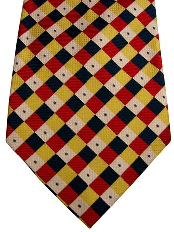 AQUASCUTUM Mens Tie Red Blue White & Yellow Squares