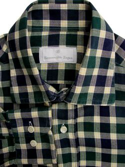 ERMENEGILDO ZEGNA Shirt Mens 14.5 S Green Blue & Yellow Check FLANNEL