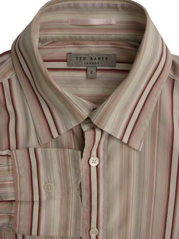 TED BAKER Shirt Mens 14.5 S Multi-Coloured Stripes STRETCHY