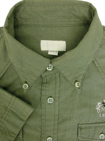 DIESEL Shirt Mens 15.5 M Green Khaki SHORT SLEEVE