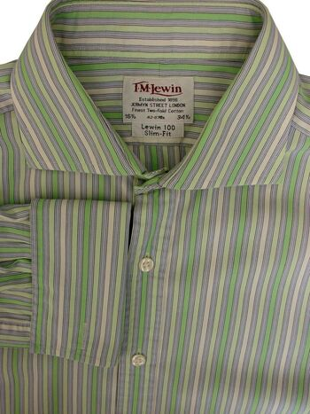 TM LEWIN 100 Shirt Mens 16.5 L Green & Cream Stripes SLIM FIT