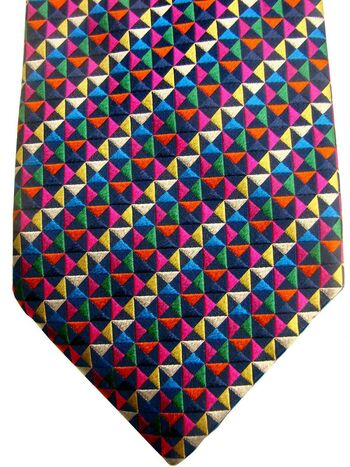 CHARLES TYRWHITT Mens Tie Multi-Coloured Triangles NEW