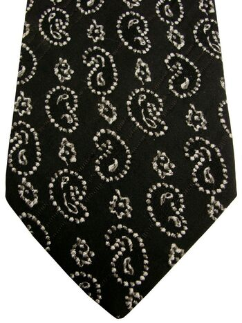 EMANUEL UNGARO Mens Tie Black - White Textured Tear Drops
