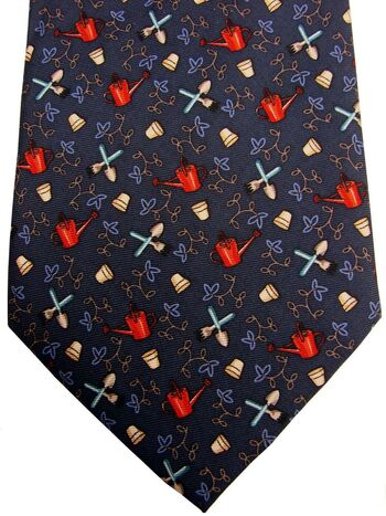 MAG MOUCH Mens Tie Dark Blue - Gardening NEW BNWT