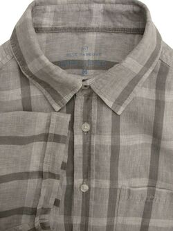MARKS & SPENCER M&S BLUE HARBOUR Shirt Mens 16 M Grey Check LINEN SHORT SLEEVE