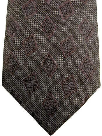 PIERRE CARDIN Mens Tie Brown Grey - Brown Concentric Diamonds
