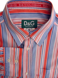 DOLCE & GABBANA D&G Shirt Mens 17 L Red Blue Pink & White Stripes