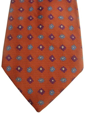 PAUL SMITH FLORAL STREET Mens Tie Orange - Blue & Purple Flowers