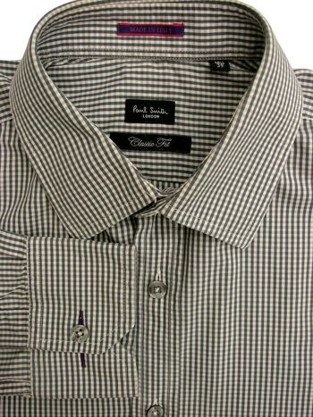 PAUL SMITH Shirt Mens 15.5 M Grey & White Gingham Check CLASSIC FIT