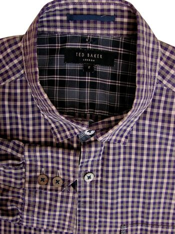 TED BAKER Shirt Mens 15 S Purple White & Grey Check