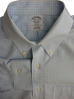 BROOKS BROTHERS REGENT Shirt Mens 16.5 L Light Blue & White Check NON IRON