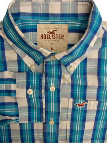 HOLLISTER Shirt Mens 17.5 XL Blue & White Check