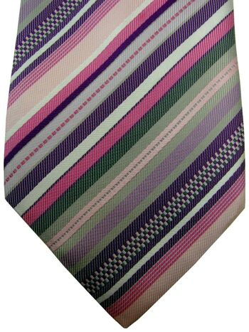 TED BAKER ENDURANCE Mens Tie Pink - Multi-Coloured Stripes