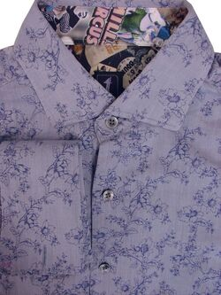 1 LIKE NO OTHER Shirt Mens 16 M Bluey Grey - Flowers SLIM FIT NEW