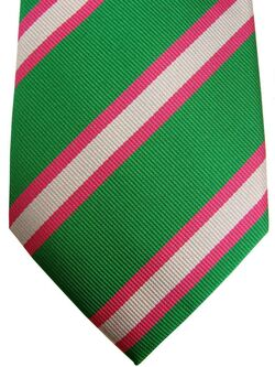 THOMAS PINK Mens Tie Green - Pink & White Stripes