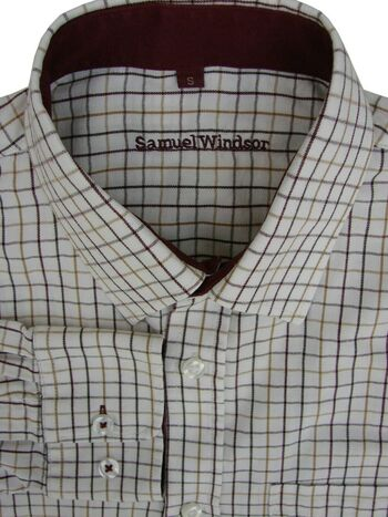 SAMUEL WINDSOR Shirt Mens 15 S White - Multi-Coloured Check