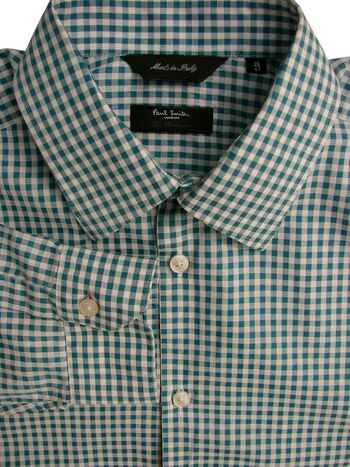 PAUL SMITH THE WESTBOURNE Shirt Mens 15.5 M Green & White Check