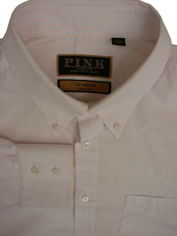 THOMAS PINK THE IMPERIAL Shirt Mens 16.5 L White - Narrow Stripes CLASSIC 170S