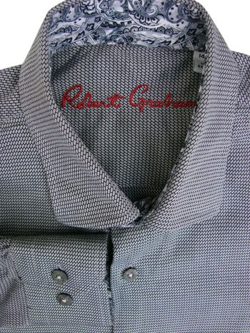 ROBERT GRAHAM Shirt Mens 14.5 S Boys 14-16 Grey - Diagonal Rectangles