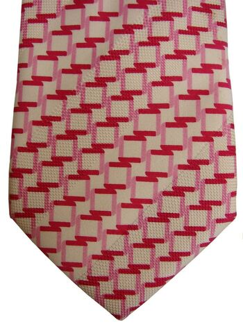 HUGO BOSS Mens Tie White - Pink Squares