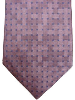 TM LEWIN Mens Tie Pink - Blue Squares NEW