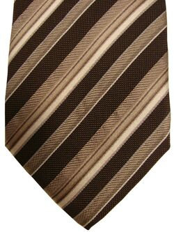 PROFUOMO ORIGINALE Mens Tie Brown & White Stripes NEW BNWT