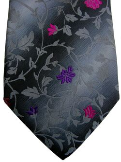 TED BAKER ARCHIVE Tie Dark Grey - Pink Grey & Lilac Flowers