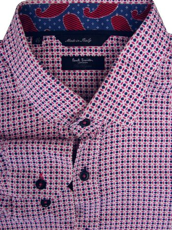PAUL SMITH THE BYARD Shirt Mens 17 L White - Pink & Blue Design