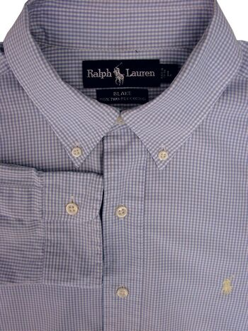 RALPH LAUREN Shirt Mens 16 L Blue & White Gingham Check BLAKE
