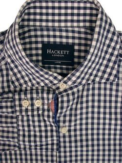 HACKETT Shirt Mens 16 L Blue & White Gingham Check SLIM FIT LIGHTWEIGHT