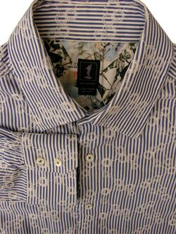 1 LIKE NO OTHER Shirt Mens 16 M Blue Stripes & TEXTURED Joining Circles SLIM FIT