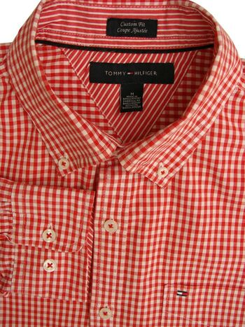 TOMMY HILFIGER Shirt Mens 16.5 M Red & White Gingham Check CUSTOM FIT
