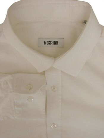 MOSCHINO Shirt Mens 15.5 M White STRETCHY