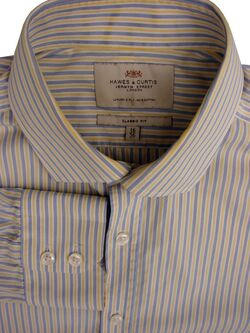 HAWES & CURTIS Shirt Mens 16 M Blue White & Yellow Stripes CLASSIC FIT