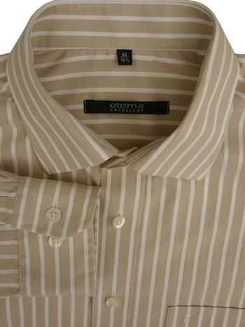 ETERNA EXCELLENT Shirt Mens 16 L Light Brown & Textured White Stripes
