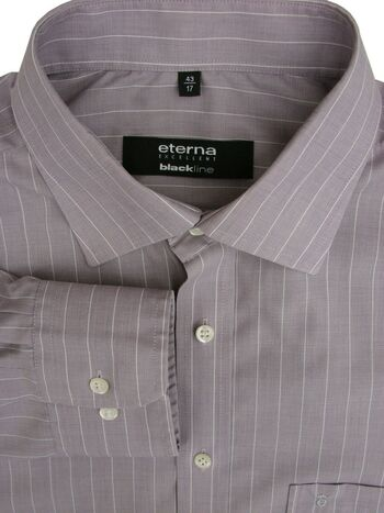 ETERNA EXCELLENT BLACKLINE Shirt Mens 16.5 L Grey - White Stripes