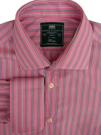 HAWES & CURTIS Shirt Mens 16.5 L Pink - Blue & White Stripes HERITAGE ST JAMES