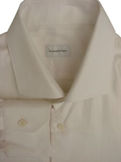 ERMENEGILDO ZEGNA Shirt Mens 17 L White SLIM FIT