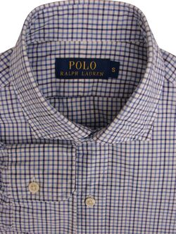 RALPH LAUREN POLO Shirt Mens 14.5 S White - Blue Check