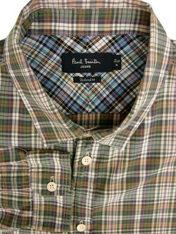 PAUL SMITH Shirt Mens 17.5 XL Multi-Coloured Check LIGHTWEIGHT TAILORED FIT