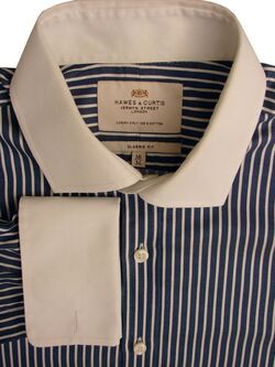 HAWES & CURTIS Shirt Mens 16 M Blue & White Herringbone Stripes CLASSIC FIT